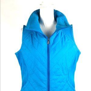 Columbia Vest Womens Sz L Blue Zip Front Quilted